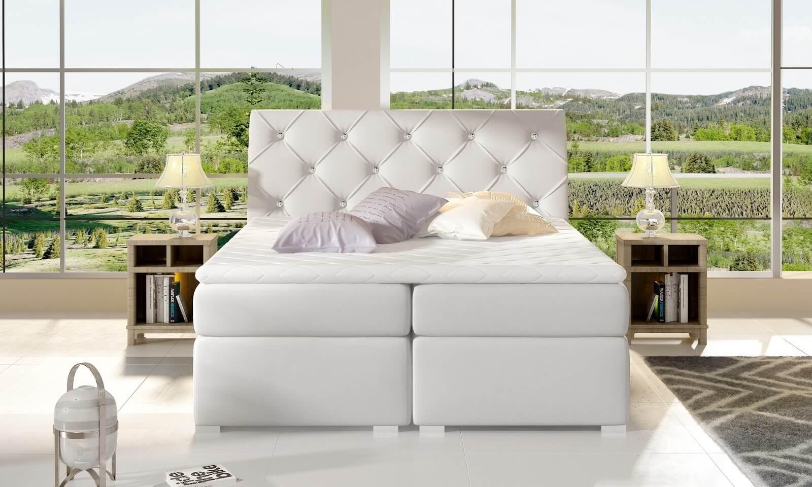 Łóżko box spring Balvin Eltap w stylu glamour